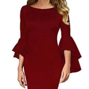 Womens Ruffle Bell Sleeves Cocktail Party Dresses